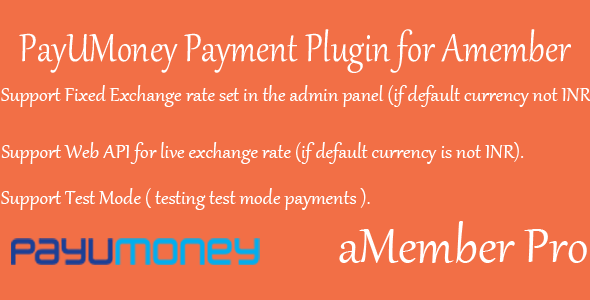 PayUMoney Payment plugin (Indian Payment gateway) for Amember Pro